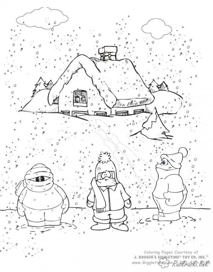 Raskraski Dlya Detej Yavleniya Prirody Priroda Moroz Sneg Snegopad Na Ulice Holodno Deti Dlya Detej