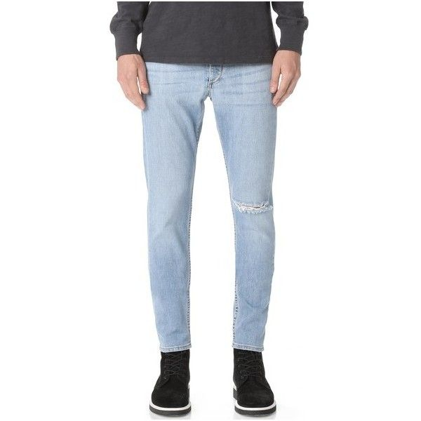 Rag & Bone Standard Issue Fit 1 Denim Jeans ($280) ❤ liked on Polyvore featuring men's fashion, men's clothing, men's jeans, mens tapered jeans, mens distressed skinny jeans, mens torn jeans, mens ripped jeans and mens ripped skinny jeans