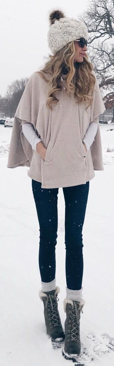 #winter #outfits grey top and fitted black pants