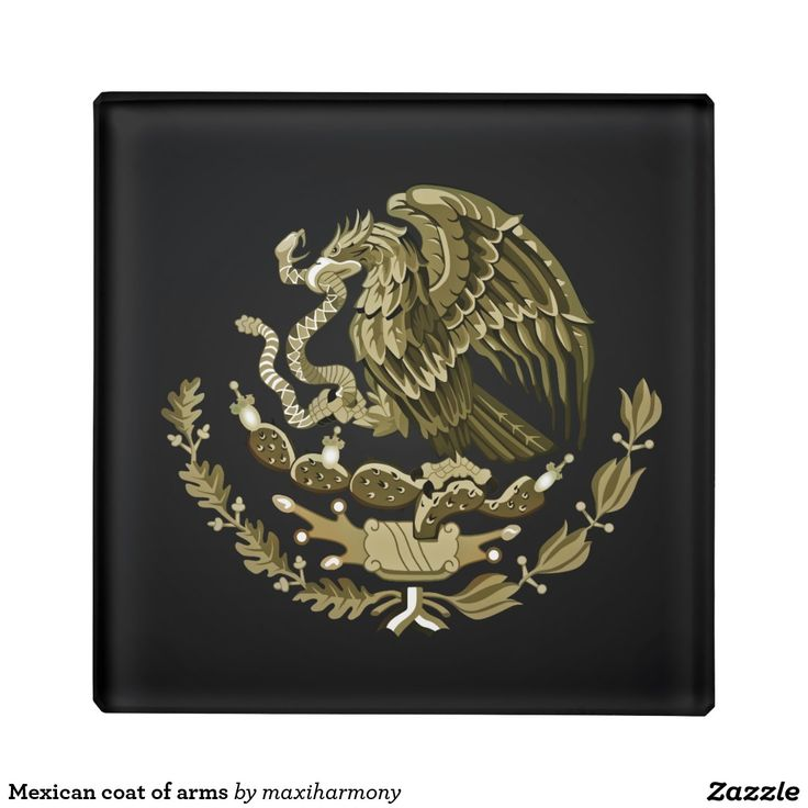 Mexican coat of arms glass coaster