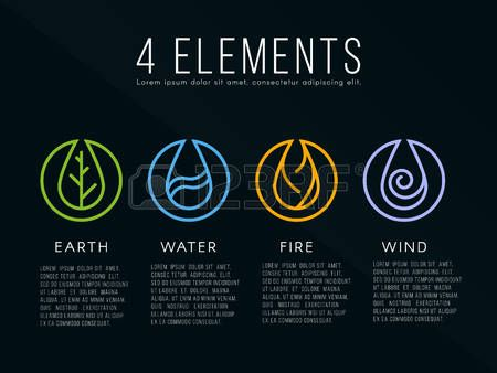 Nature 4 elements icon sign. Water, Fire, Earth, Air. on dark background.