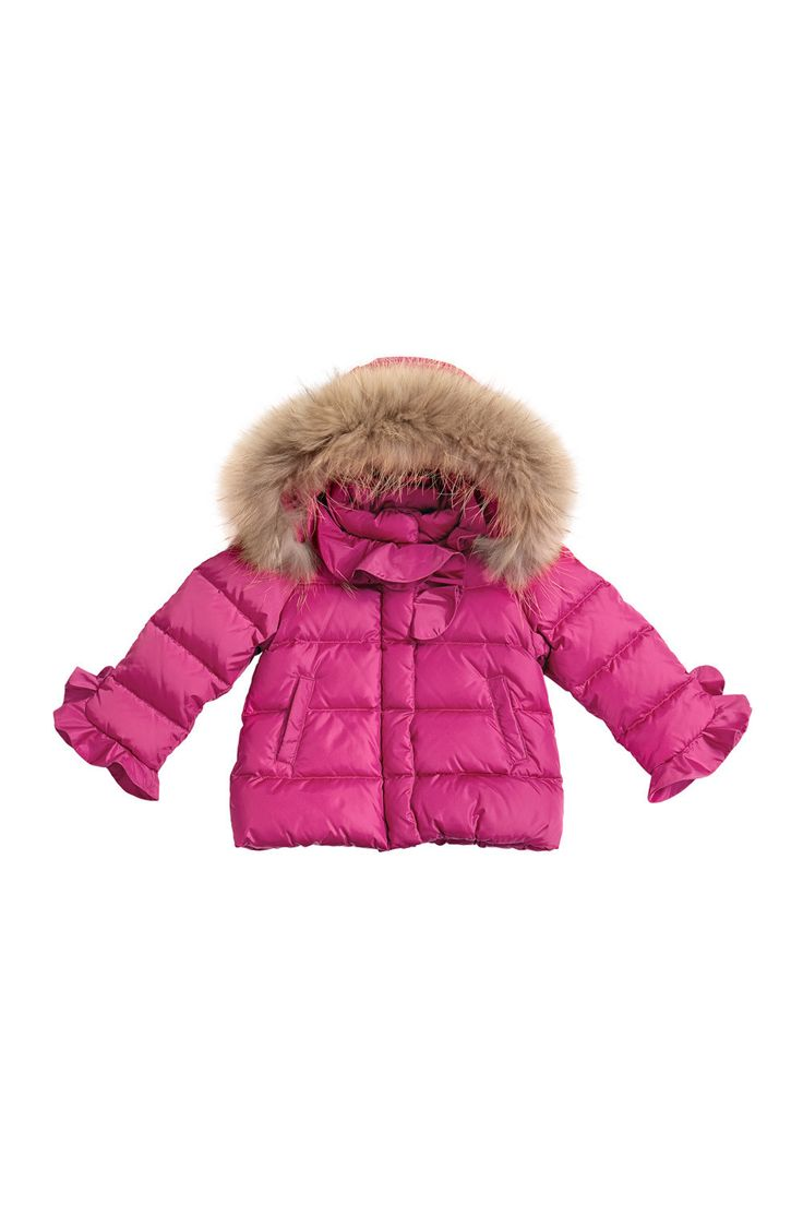 Down-filled jacket with fur collar and ruffles on cuffs and along collar. #ilgufo #fw13 #shopping #downjacket #fashionkids #childrenswear #fashion #musthave #girls
