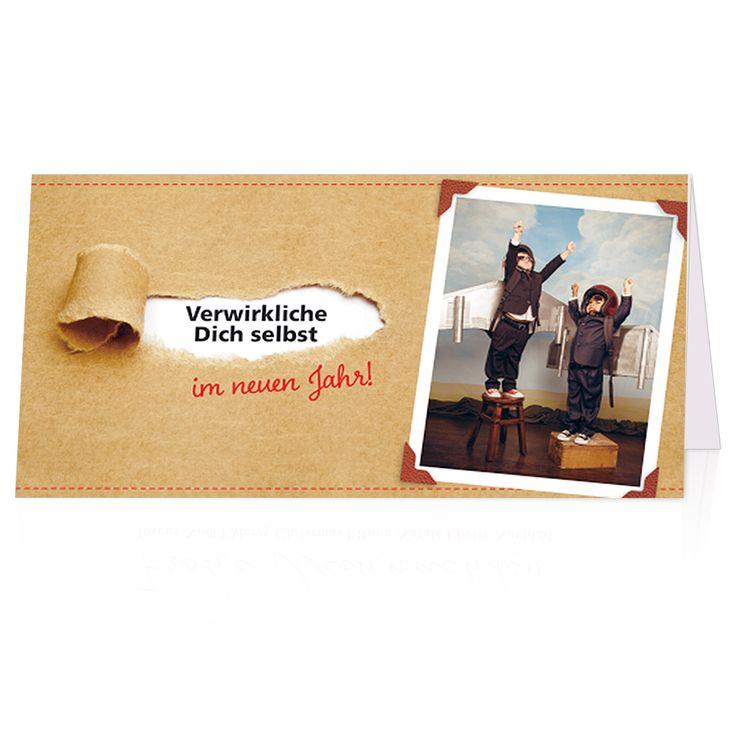 Witzige Neujahrskarten - mit edler Rotfolienprägung - Spendenkarte der Hilfsorganisation World Vision Lustige Neujahrsgrüße versenden und spenden!