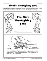 [Printable] The First Thanksgiving Book by TeacherVision. Facts about the first Thanksgiving are featured in this printable mini-book. Students will enjoy this arts & crafts activity..