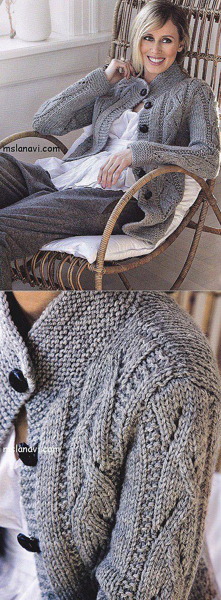 Вязаный жакет спицами и схема от LENE SAMSOE | Вяжем с Ланой