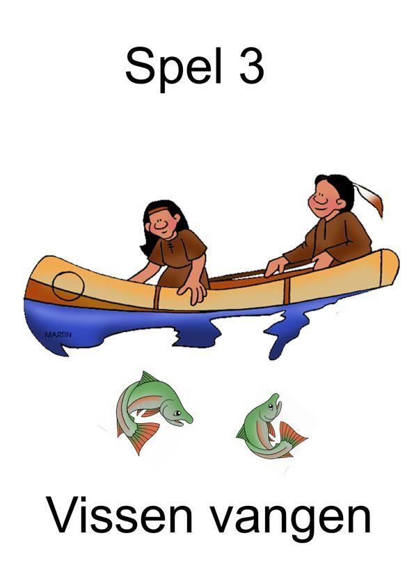 Spel 3 vissen vangen, thema indianen voor kleuters, kleuteridee.nl