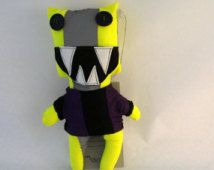 Riottino Fluo Yellow. Polyester fluo fabric puppet with a reflective band / OOAK
