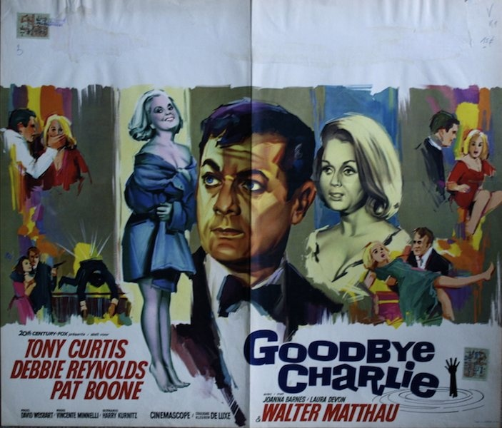 Goodbye Charlie Belgian movie poster. Ray (Raymond Elseviers) art. Tony Curtis + Debbie Reynolds