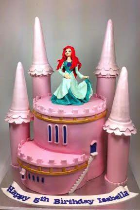 Princess Ariel Castle Birthday cake by wwwcarryscakes.com.au