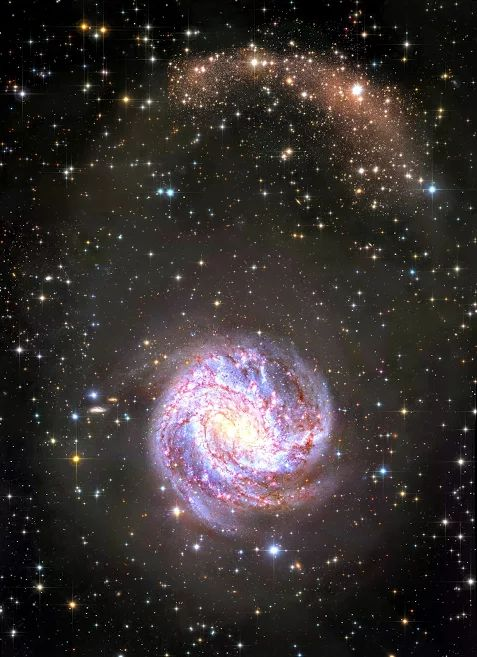 The Galaxy Star Streams.. Big, bright, and beautiful, spiral galaxy M83 lies a mere twelve million light-years away, near the southeastern tip of the very long constellation Hydra. This deep view of the gorgeous island universe includes observations from Hubble, along with ground based data from the European Southern Observatory's very large telescope units,