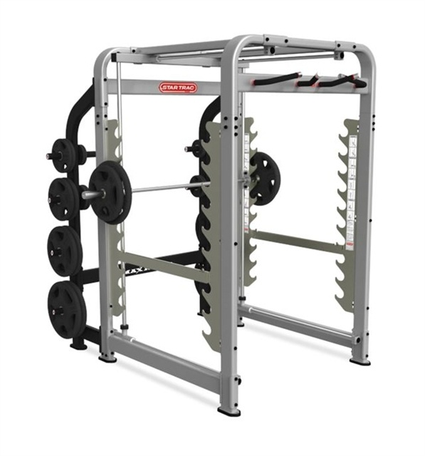 Star Trac MAX RACK    Patented technology provides simultaneous  bar movement both vertically and horizontally.  Unique design provides the safety of a Smith  Machine with the exercise diversity of a Power  Rack.  Multiple bar rack safety catches oer forward,  rear and lower racking for enhanced safety.  Intuitive user placards featuring 20 detailed  exercise explanations are conveniently located  within the unit.  Walk-through front design allows for the use  of multiple benches.  Complete…