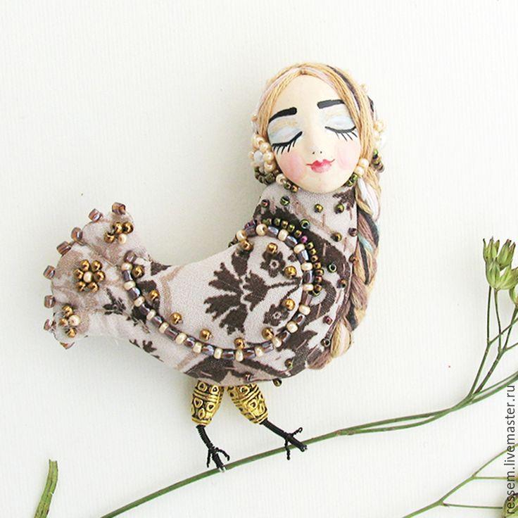 """Купить Брошь """"Птица счастья"""" - брошь, птичка, птица счастья, бисер, оригинальный подарок, феникс"""