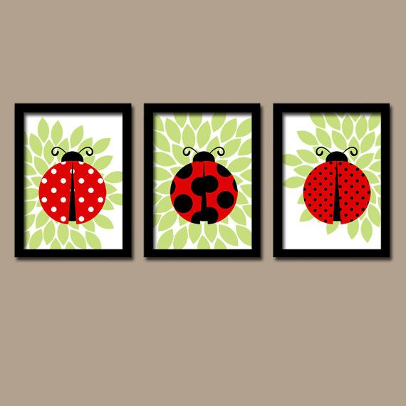 ★LADYBUG Wall Art Girl Nursery Lady bug Artwork Child Love Bug Choose Colors Red Black Green Flower Set of 3 Prints Baby Crib Decor Three ★Includes