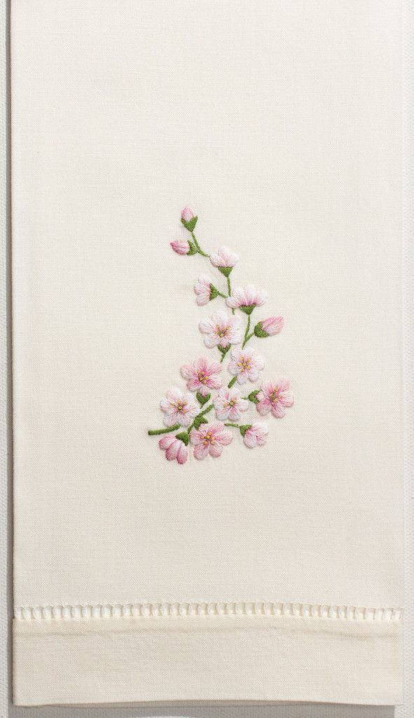 Orchid Spray PinkHand Towel - Ivory Cotton – Henry Handwork