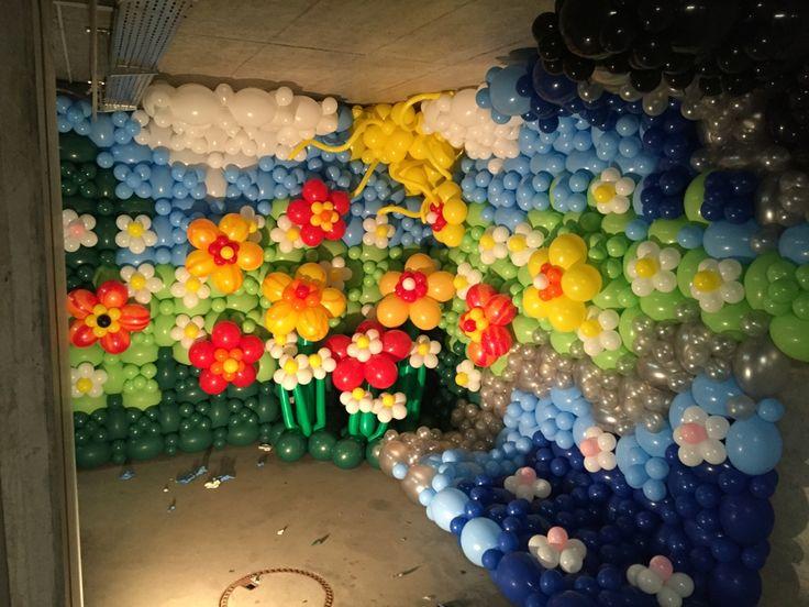 Ballon Wand  Blumen