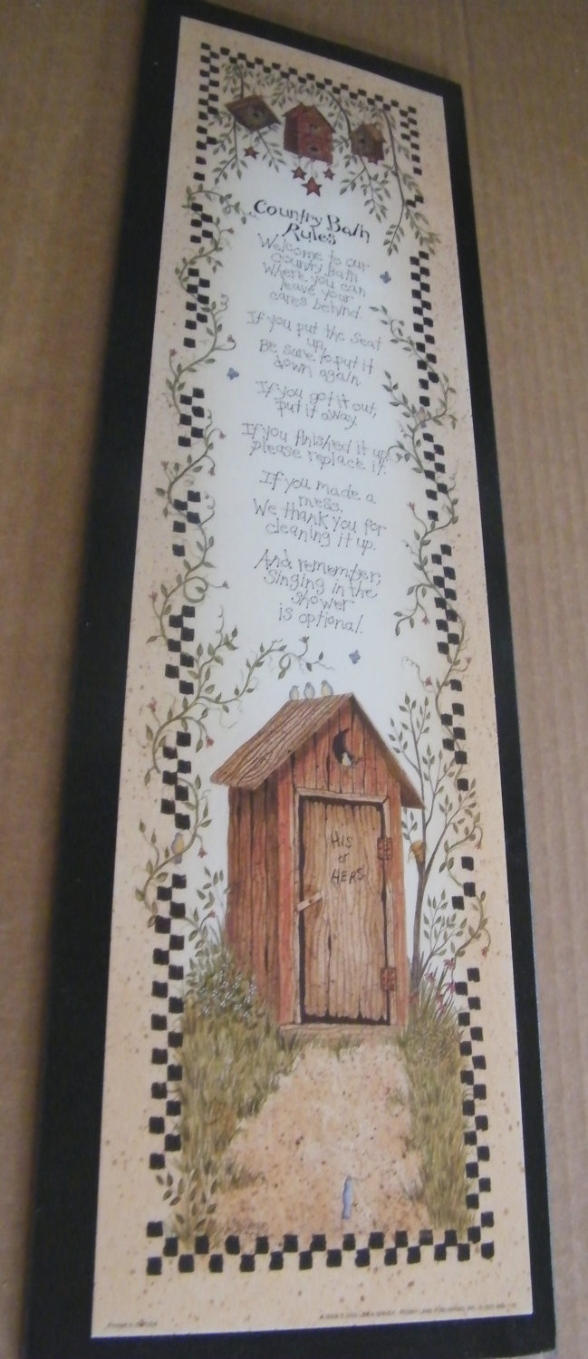 Country Bath Rules Sign OUTHOUSE Bathroom Retro by carolalden, $10.95