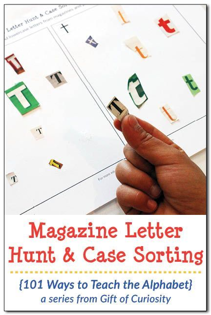 Magazine Letter Hunt and Case Sorting activity with free printable to help kids learn the alphabet || Gift of Curiosity