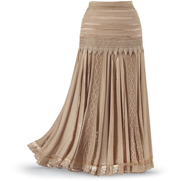 Mixed Media Skirt Size 1X ($70) ❤ liked on Polyvore featuring skirts, plus size, flare skirt, long flared skirt, lacy skirt, long lace skirt and long gypsy skirts