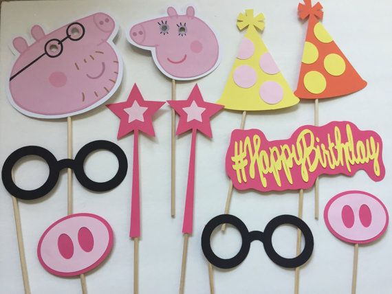 11-pack Peppa Pig Party Themed Photo Booth Props by CindyGCastillo
