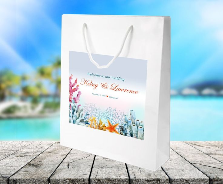 #beachwedding #dstinationwedding ocean coral on white gloss Welcome Bag for hotel guest hospitality gift bag, wedding favor by #bestwelcomebags
