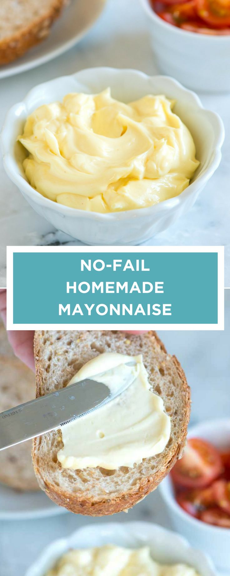 Using whole eggs instead of just the yolk, makes this homemade mayonnaise recipe practically fail-proofand extra easy.