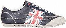 кеды, мужские, черные, кожаные, с перфорацией, принтом, британский флаг