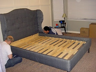 DIY Wingback headboard. I have been searching for this for a while.