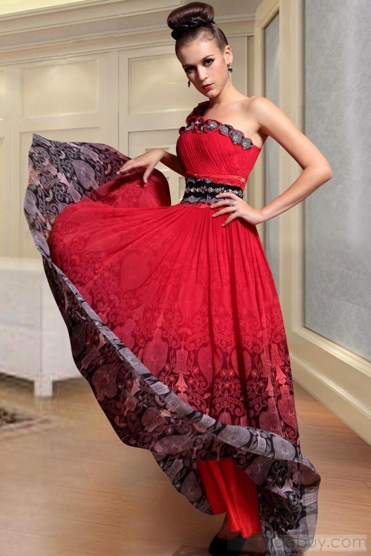 魅力的なワンショルダーゼット床まで届く長さイブニングドレス