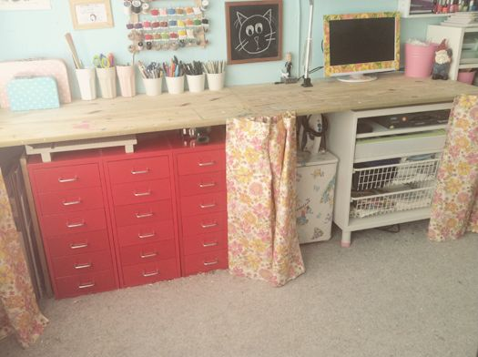 A Long Board Could Be Used As Shelf Like This To Provide Lots Of Worke In Craft Room At Low Cost Stash Storage Bins