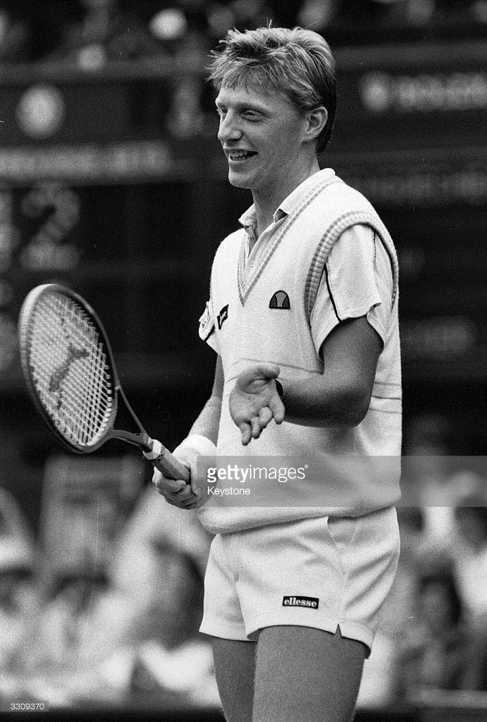 West German tennis champion Boris Becker defending his title at Wimbledon, London.