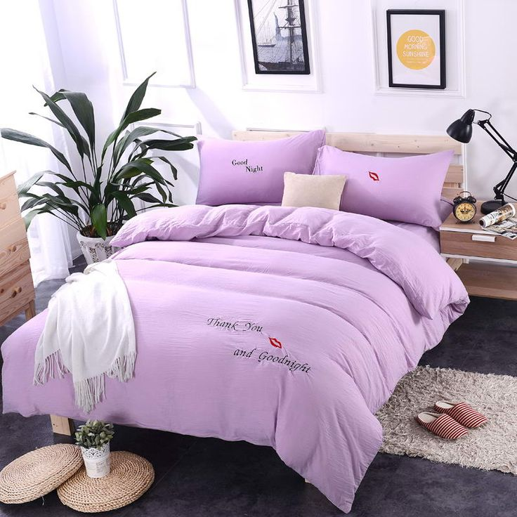 Spring washed cotton princess wind embroidery Pink  purple bedding sets duvet cover set bed sheet pillowcase King Queen 4PCS #Affiliate