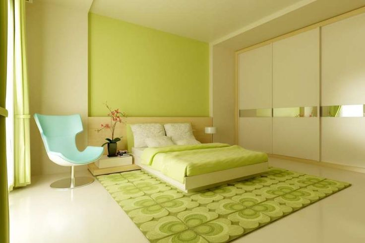 Colori per interni moderni - Pareti verdi per camera