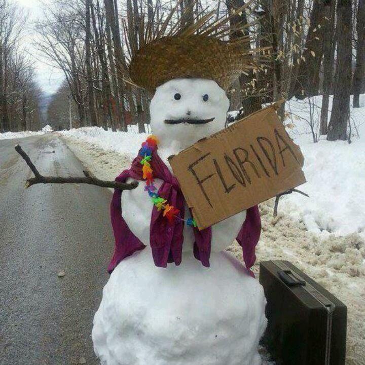 Florida Bound Snowman! Travel Somewhere Warmer