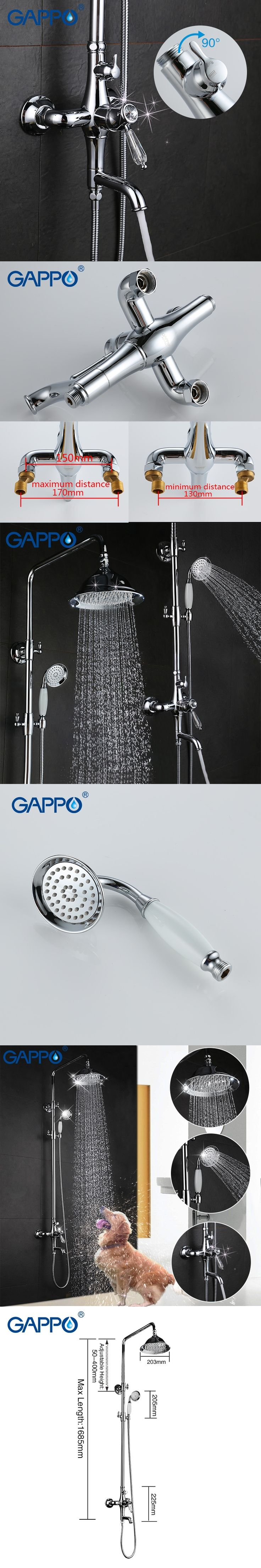 GAPPO bathroom shower faucet set bronze bathtub mixer shower faucet chrome Bath Shower tap waterfall big rain shower head GA2497