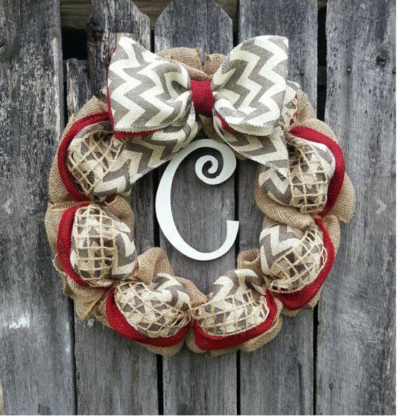 burlap wreath initial door hanger wreath monogram wreath monogram door wreath initial wreath gift idea chevron wreath chevron initial wreath