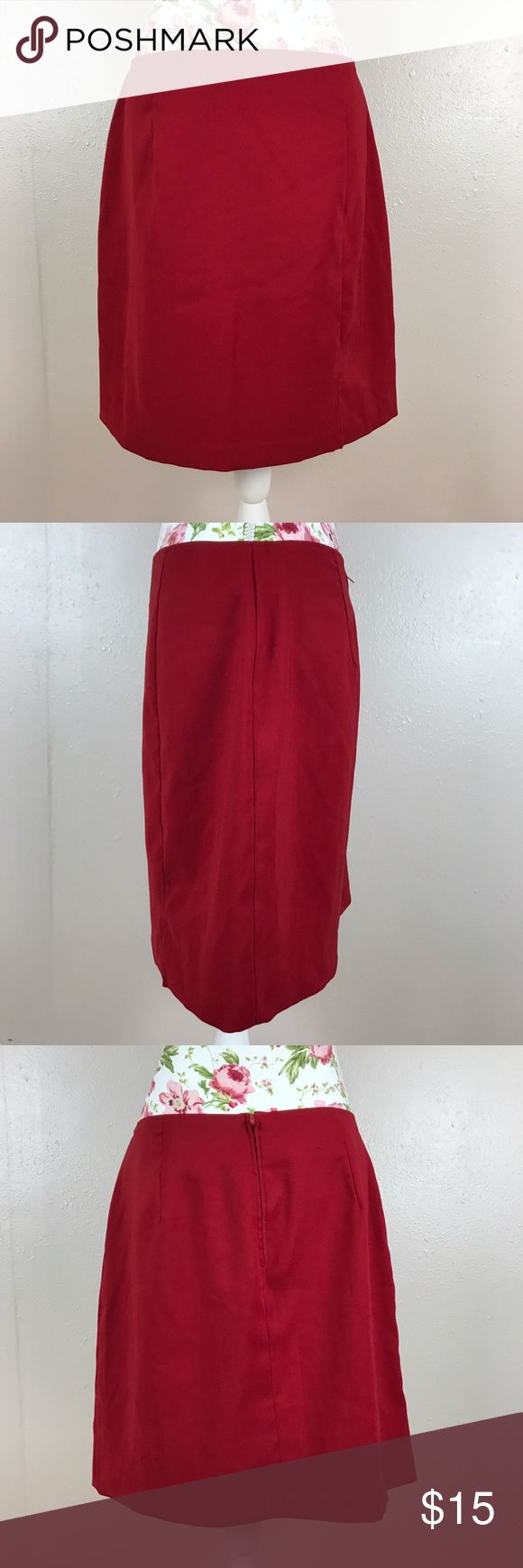 Red skirt Shorter red skirt office appropriate. 97% polyester 3% spandex. Size 13/14. No brand tag. Lying flat and unstretched approximate measurements are waist 16 inches length 19 inches Skirts Mini