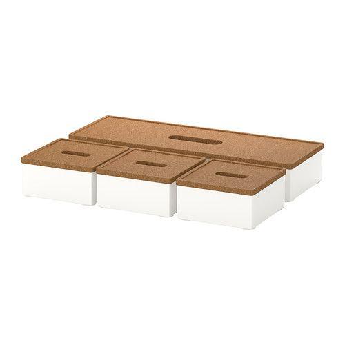 KVISSLE Kasten mit Deckel 4er-Set IKEA Praktisch für Stifte, Visitenkarten, Schreibblocks usw.
