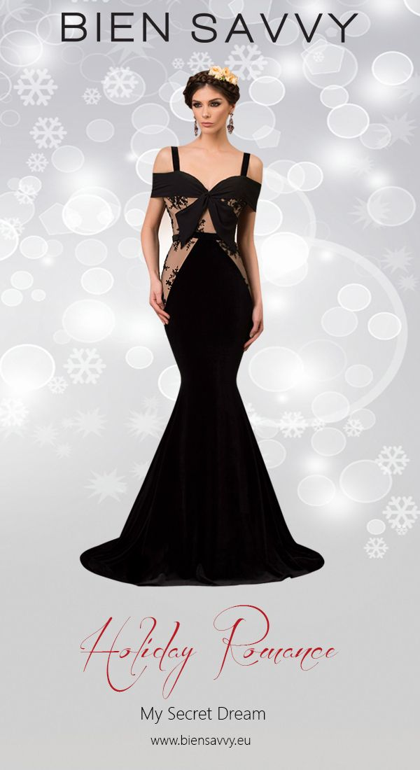 Holiday Dresses 2016: My Secret Dream, an evening dress crafted in veil, velvet and manual embroidery, a perfect mix for ultra glamour. BIEN SAVVY My Secret Collection