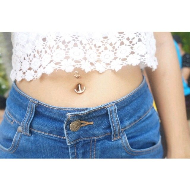 Crystalline Gem Rose Gold Plated Maritime Anchor Belly Ring | Body Candy Body Jewelry #bodycandyfans