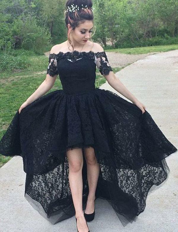 Black Lace Prom Dress High Low 23ac1146b48b