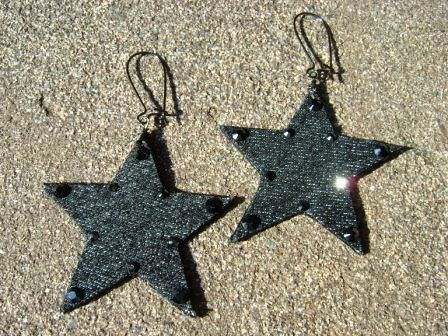 Denim Earrings Star Black Denim and Rhinestone Jean by maidendenim, $16.00