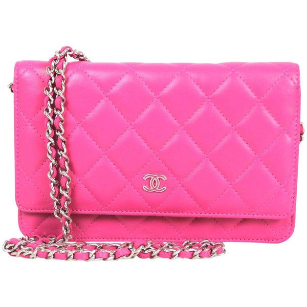 Pre-owned Chanel Pink Quilted Leather 2015 Silver HDW Wallet On Chain... ($2,500) ❤ liked on Polyvore featuring bags, wallets, handbags and purses, wallets and small accessories, credit card holder wallet, handle bag, chain handle bag, chanel wallet and chain wallet