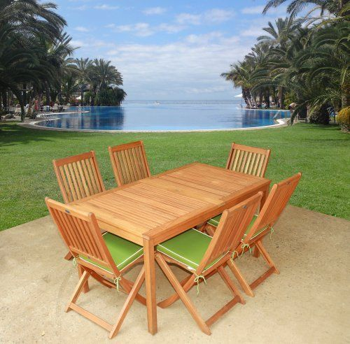 LuuNguyen - Win Outdoor Hardwood 7-Piece Dining Set with Cushions (Natural Wood Finish) - Garden Green by LuuNguyen. $759.99. Partially Assembled. Deep Discount - Unbeatable Pricing!!! . Solid Hardwood Treated with Oil, Natural Color Stained. Made From FSC Eucalyptus Solid Hardwood. Beautiful Eucalyptus Outdoor Patio Garden Dining Set At An Affordable Price. Environmental Friendly Products. Extra thick cushions made from quick dry foam. Double core to set off the c...