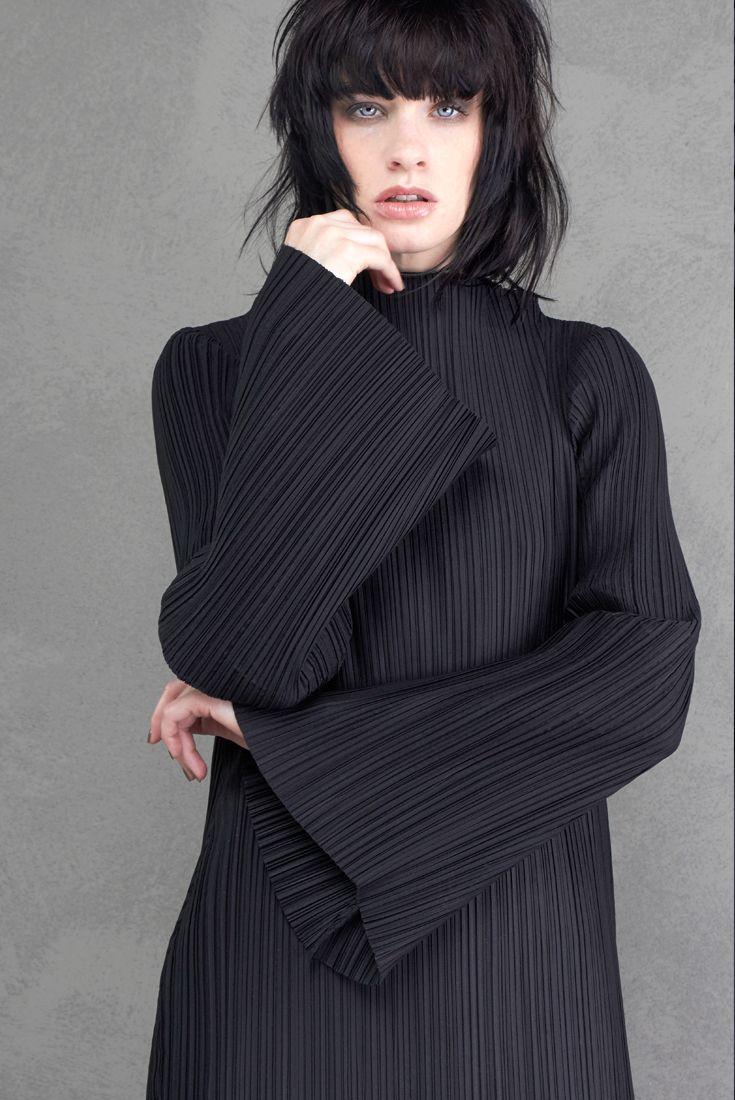 long dress made of stretch pleated polychiffon MALLONI