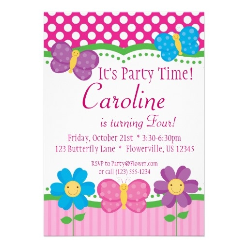 Butterfly And Flowers Birthday Party Invitation Zazzle