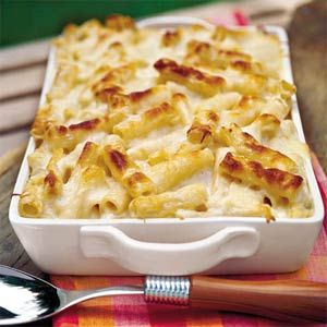 Three-Cheese Pasta Bake.  My husband makes the best Alfredo sauce that I would opt for using that as opposed to premade sauce.  Looks so nummy.