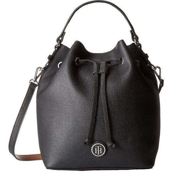 Tommy Hilfiger Mara Drawstring Bucket Bag Black/Sand in Clothing, Shoes \u0026  Accessories, Women\u0027s Handbags \u0026 Bags, Handbags \u0026 Purses