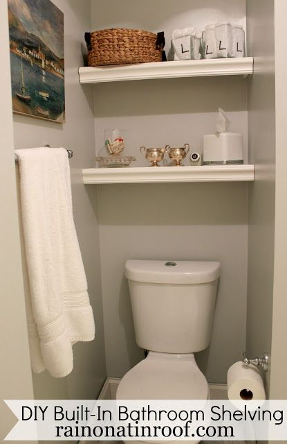 Awesome way to use the space above the toilet - AND it cost LESS THAN $25! DIY Built-In Bathroom Shelving via RainonaTinRoof.com