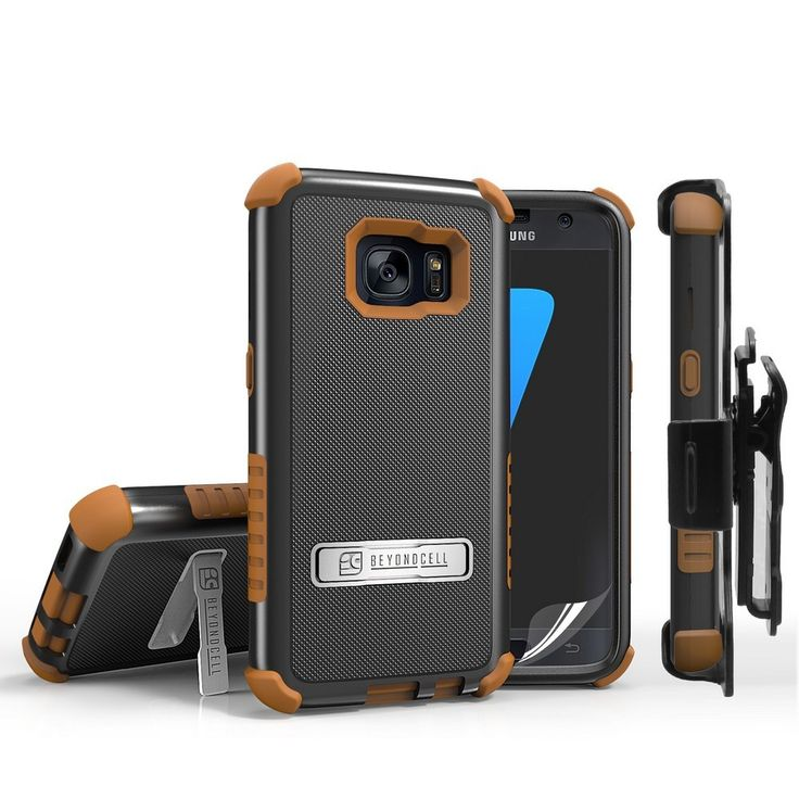 Tri Shield Combo For Samsung Galaxy S7 Black/Tan TPU Case,Belt Clip Holster,Kickstand