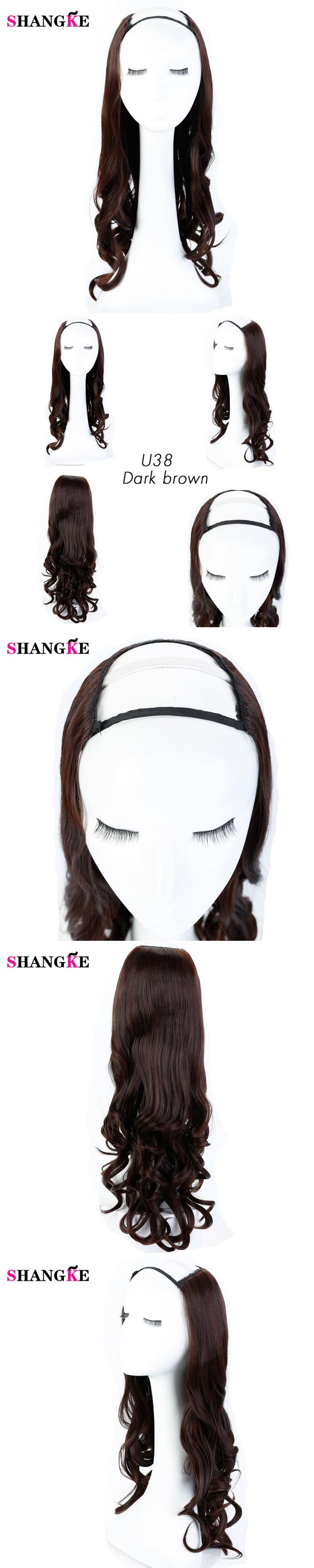 SHANGKE Synthetic Half Wigs U shape Hair wigs Black Long Wavy Heat Resistant Headband Wigs For American European Daily Use